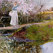 The Orchard Brook  Art Print