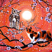 The Owl And The Pussycat In Peach Blossoms Art Print