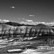 The Painted Hills Bw Art Print