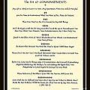The Pet 10 Commandments With Bevelled Border Art Print