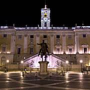 The Piazza Del Campidoglio At Night Art Print