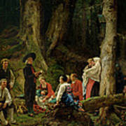 The Pilgrims From The Abbey Of St. Odile Oil On Canvas Art Print