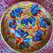 The Pink And Blue Plate Art Print by Martha Nelson