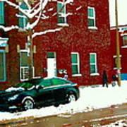 The Point Pointe St Charles Snowy Walk Past Red Brick House Winter City Scene Carole Spandau Art Print
