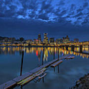 The Portland Oregon Waterfront Blue Hour Art Print