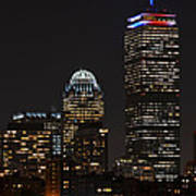 The Prudential Lit Up In Red White And Blue Art Print