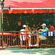 The Red Awning Cafe On St. Denis - A Shady Spot To Enjoy A Cold Beer On A Very Hot Sunday In July Art Print