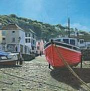 The Red Boat Polperro Corwall Art Print