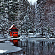 The Red Boathouse - Old Forge Ny Art Print
