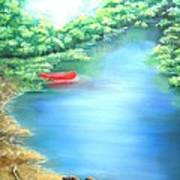 The Red Canoe Art Print