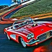 The Red Corvette Art Print
