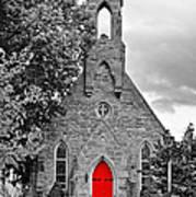 The Red Door Monochrome Art Print