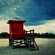 The Red Lifeguard Shack Art Print