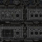 The Resolute Desk Blueprints- Black/white Line Art Print by Kenneth Perez
