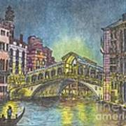 Relections Of Light And The Rialto Bridge An Evening In Venice  Art Print