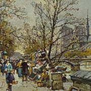 The Rive Gauche Paris With Notre Dame Beyond Art Print