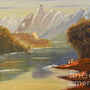 The River Flowing From A High Mountain Art Print