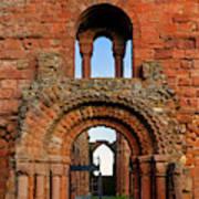 The Romanesque Doorway In The Monastery Art Print