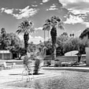 The Sandpiper Pool Bw Palm Desert Art Print by William Dey
