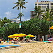The Scene At Waikiki Beach Art Print