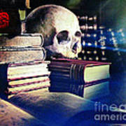 The Skull The Spell Book And The Rose Art Print