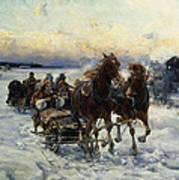 The Sleigh Ride Art Print by Alfred von Wierusz Kowalski