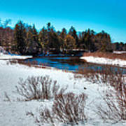 The Snowy Moose River - Old Forge New York Art Print