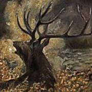 the Stag sitting in the grass oil painting Art Print