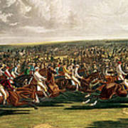 The Start Of The Memorable Derby Of 1844 Art Print by Charles Hunt