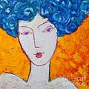 The Strength Of Grace Expressionist Girl Portrait Print by Ana Maria Edulescu