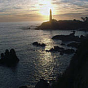 The Sun Is Setting Behind The Pigeon Point Light Station Near Ano Nuevo Art Print