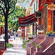 The Sunlit Shops Art Print