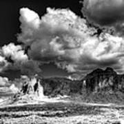 The Superstitions - Black And White  Art Print