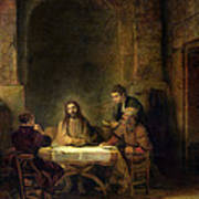 The Supper At Emmaus, 1648 Oil On Panel Art Print