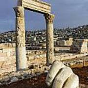 The Temple Of Hercules And Sculpture Of A Hand In The Citadel Amman Jordan Art Print