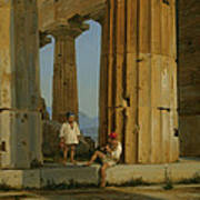 The Temple Of Poseidon. Paestum Art Print