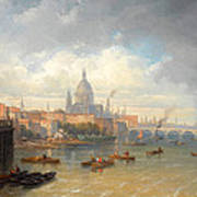 The Thames With Somerset House And St Pauls Cathedral Art Print
