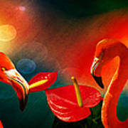 The Three Flamingos - Featured In 'feathers And Beaks' 'wildlife' And 'comfortable Art'  Groups Art Print