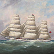 The Three-master Hahnemann In Full Sail Off A Headland Art Print
