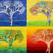 The Tree 4 Seasons - Painterly - Abstract - Fractal Art Art Print by Andee Design