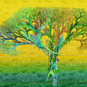 The Tree In Summer At Sunrise - Painterly - Abstract - Fractal Art Art Print
