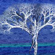 The Tree In Winter At Dusk - Painterly - Abstract - Fractal Art Art Print