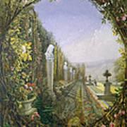 The Trellis Window Trengtham Hall Gardens Art Print by E Adveno Brooke
