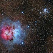 The Trifid Nebula And Messier 21 Art Print