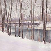 The Tulip Tree Bridge In Winter Art Print by Elizabeth Dobbs