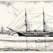 The Turkish Frigate Ertogrul Lost Off The Coast Of Japan Art Print
