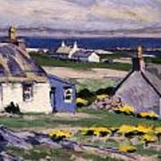 The Two Crofts Art Print by Francis Campbell Boileau Cadell
