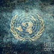The United Nations Flag  Vintage Version Art Print