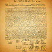 The United States Declaration Of Independence - Square Art Print