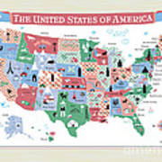 The United States Of America Map Art Print